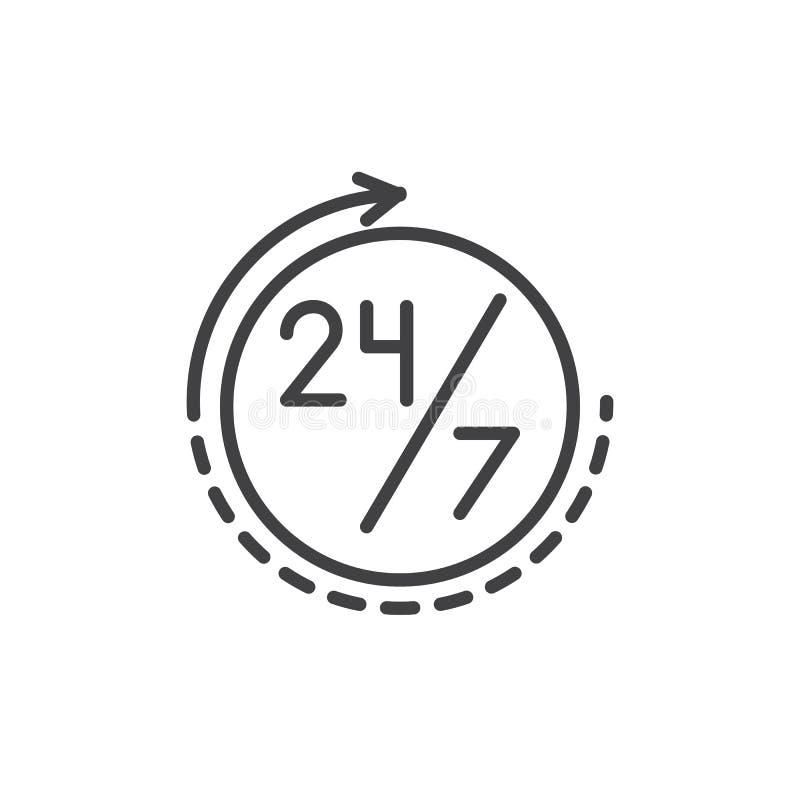 Siempre el tiempo abierto alinea 24 horas al día y 7 días a la semana el icono stock de ilustración