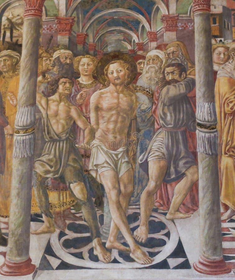 Siena Baptistery - fresco da flagelação de Cristo foto de stock
