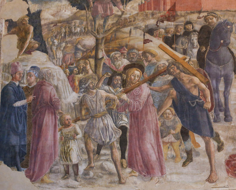 Siena Baptistery - Fresco of the Road to Calvary royalty free stock photography