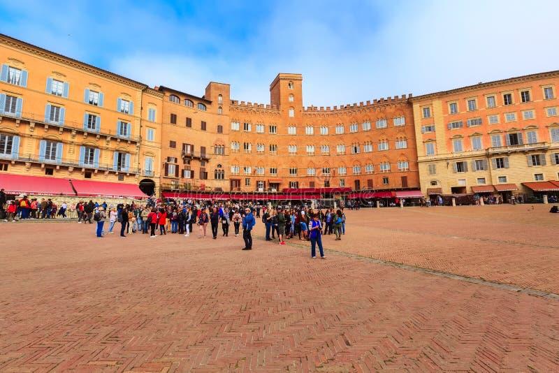 Siena, campo Square Piazza del Campo, Italia fotografia stock