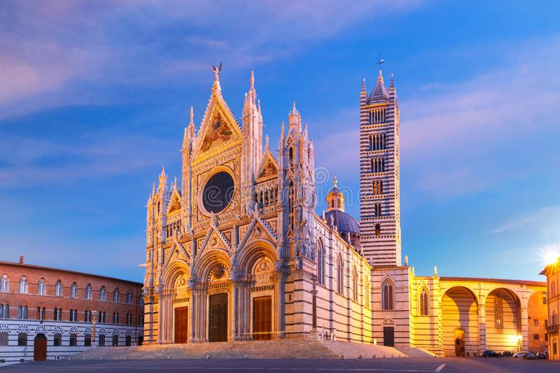 Siena Cathedral At Sunrise, Tuscany, Italy Stock Photo ...