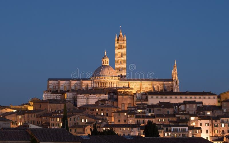 Siena domkyrka på natten arkivbild