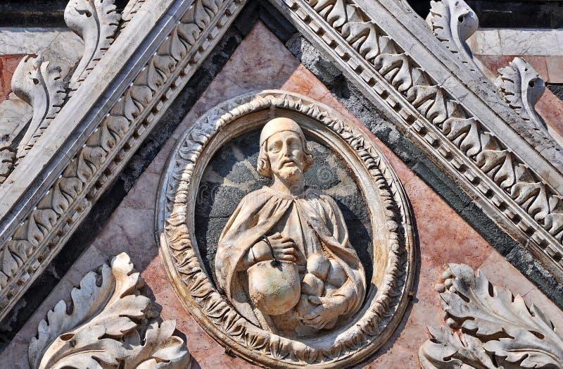 Siena domkyrkadetalj royaltyfria foton