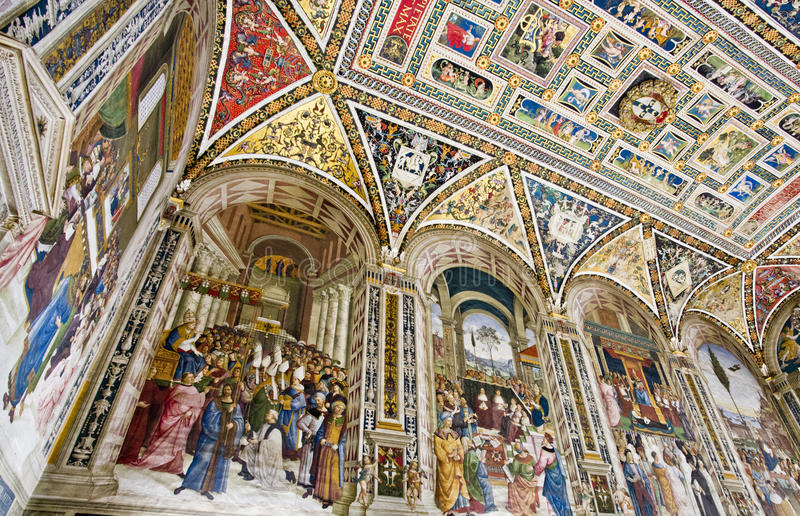 Siena Duomo Library foto de stock
