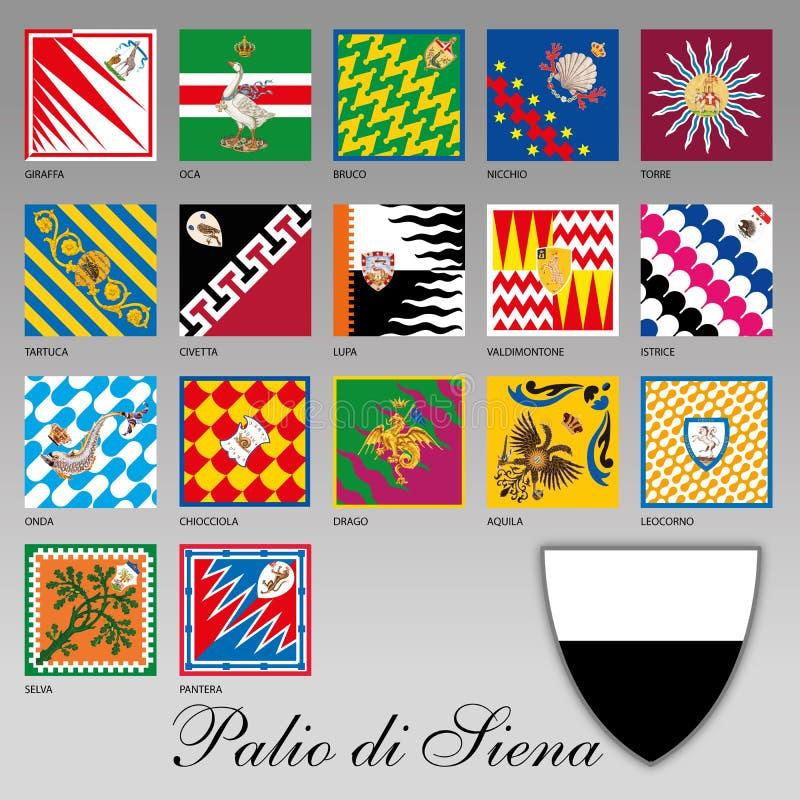 SIENA - ITÁLIA - em julho de 2016 - Palio de Siena, bandeira do contrada da lagarta, Toscânia ilustração stock