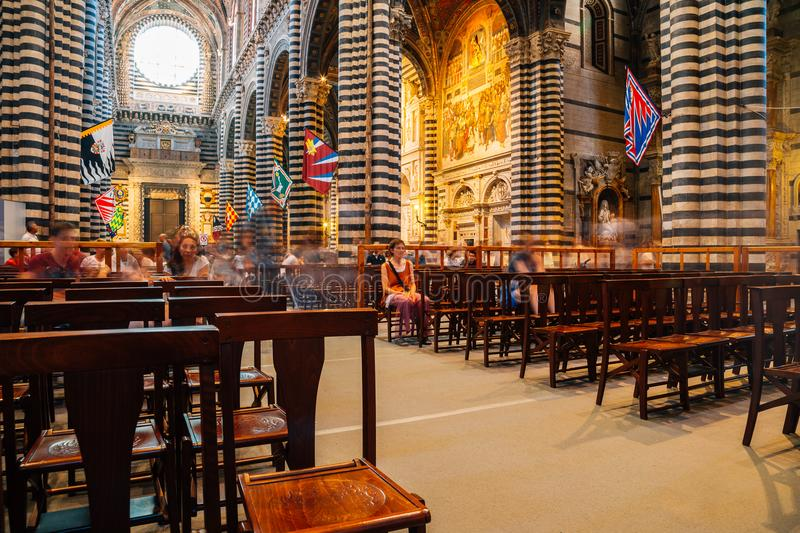 Interior of Duomo di Siena cathedral in Siena, Italy stock photo