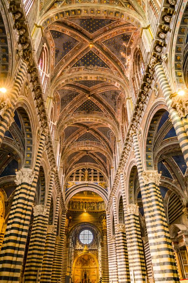 Interior architecture detail of the Siena Cathedral stock photo