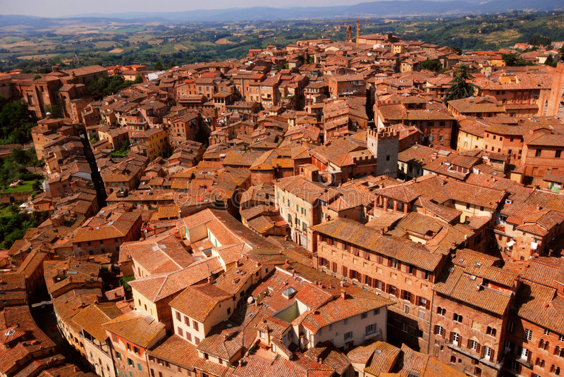 Siena Italy Overview. Aerial view of structures in Siena, Italy