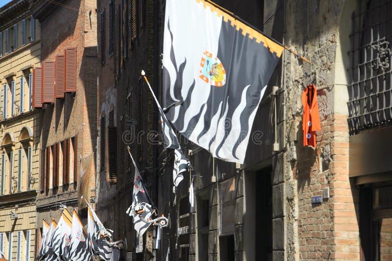 Siena Italy Street Flags fotos de stock royalty free