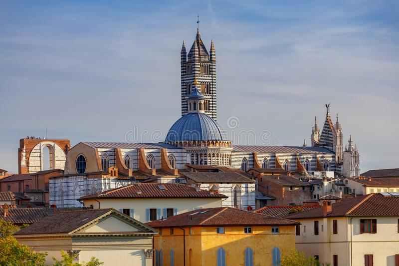 Siena Kathedrale an einem sonnigen Tag stockfotografie