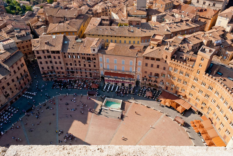 Siena Piazza del Campo arkivbilder