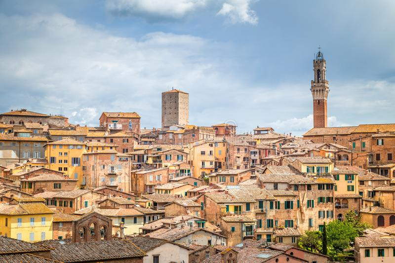 Siena town, panoramic view of ancient city in the Tuscany region royalty free stock images