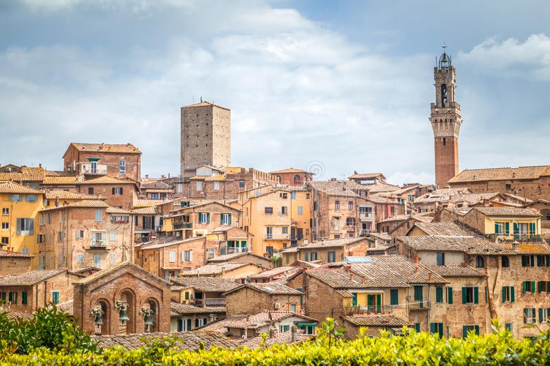 Siena town, view of ancient city in the Tuscany region of Italy royalty free stock photography
