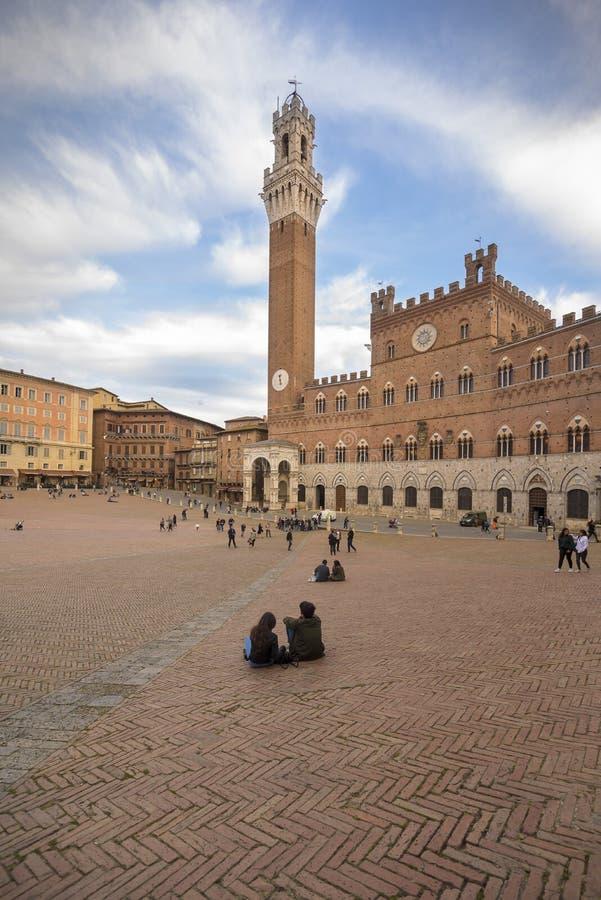 Siena View del quadrato di Piazza del Campo Campo fotografia stock