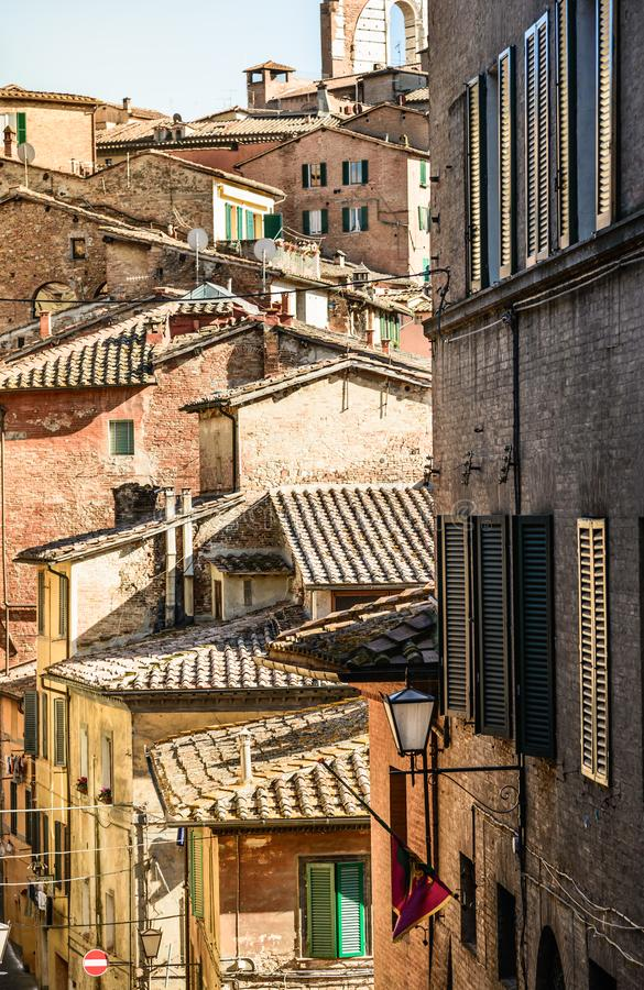 Siena view of rooftops of old centre town. stock images