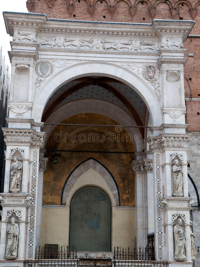 Siena - wonderfully decorated Capella di Piazza. At Palazzo Pubblico stock images