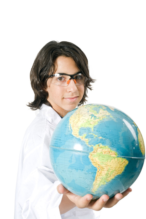 Sience student holding a globe royalty free stock image