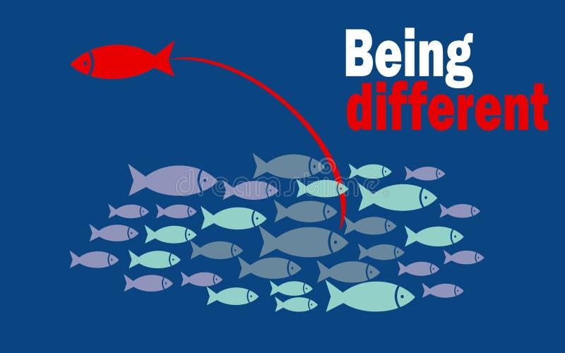 Siendo diverso concepto del éxito con el pequeño grupo de los pescados ilustración del vector