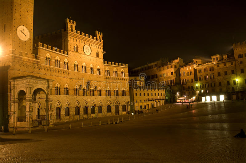 Sienna - Piazza del Campo. In the night stock image