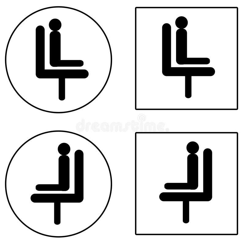 Siente y espere los iconos negros ilustración del vector