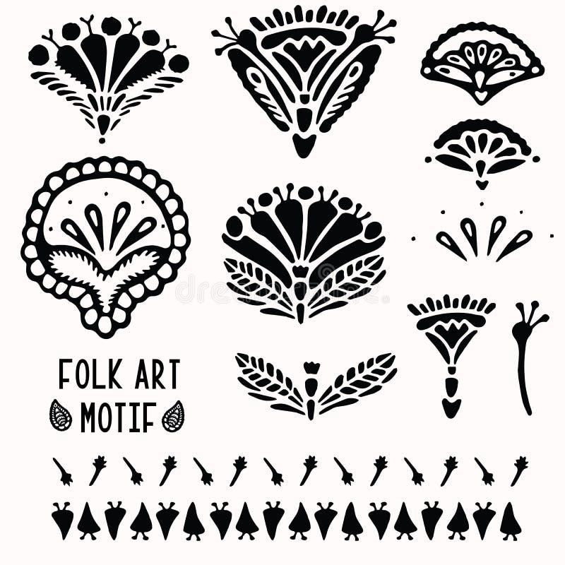 Sier bloemen volks de kunstelementen van Paisley voor ontwerpset Hand getrokken linocut blokafdrukstijl Folkloristische illustrat vector illustratie