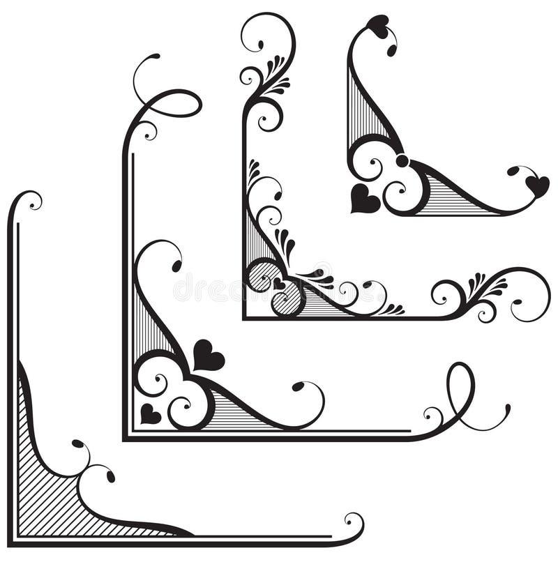 Sier bloemenhoeken royalty-vrije illustratie