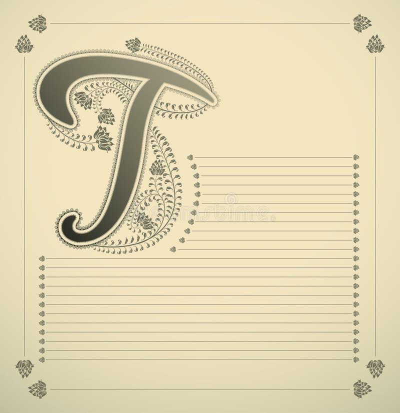 Sier brief - T stock illustratie