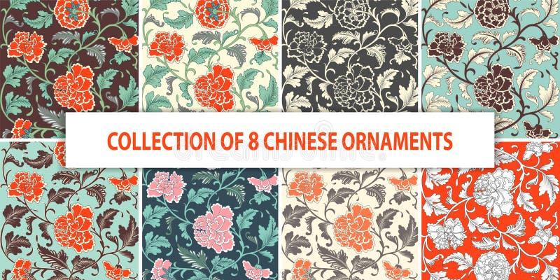 Sier Chinees gekleurd antiek bloemenhand getrokken patroon royalty-vrije illustratie