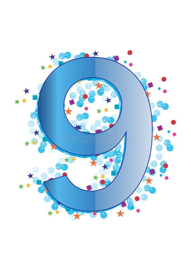 Sier Cijfer negen - vector vector illustratie