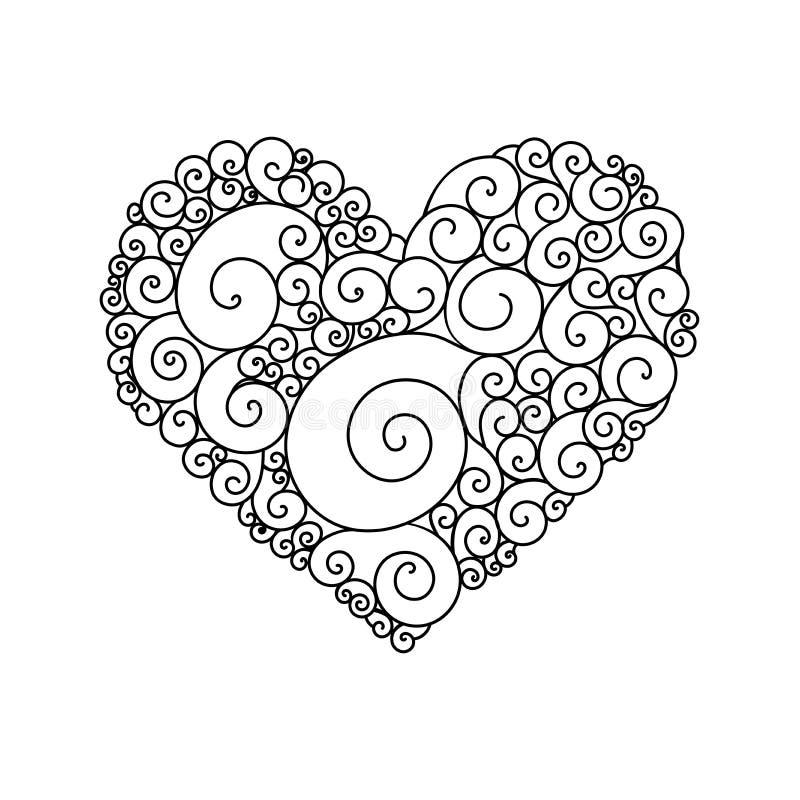 Sier de groetkaart van StValentine ` s met kleurrijke het hartschets van de zentanglekrabbel Etnisch stammen golvend vectorhart vector illustratie