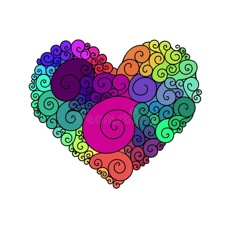 Sier de groetkaart van StValentine ` s met de kleurrijke schets van het zentangle bloemenhart Vectorhartillustratie met royalty-vrije illustratie