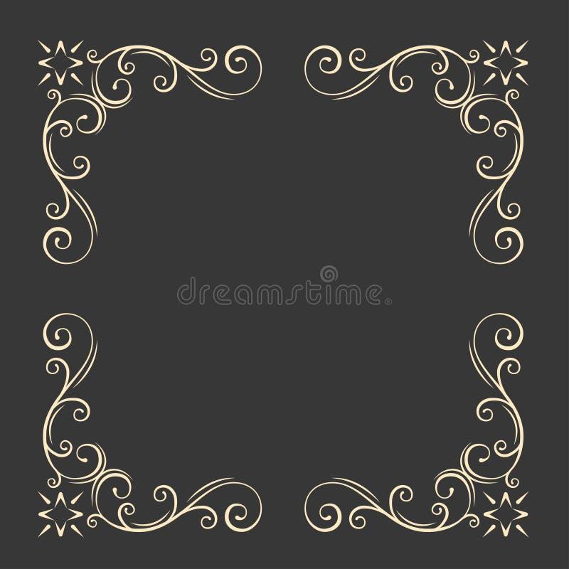 Sier decoratief frame Wervelingen, bloemen filigraanelementen Uitstekende stijl Huwelijksuitnodiging, het ontwerp van de groetkaa vector illustratie