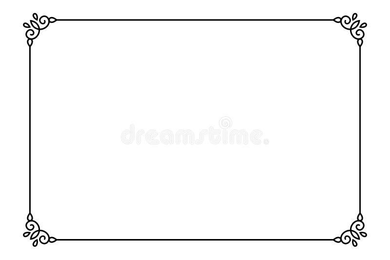 Sier decoratief paginakader Vector de grensmalplaatje van de Lijnstijl royalty-vrije illustratie