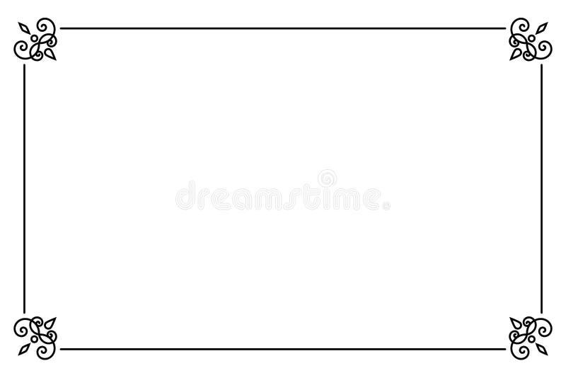 Sier decoratief paginakader Vector de grensmalplaatje van de Lijnstijl stock illustratie