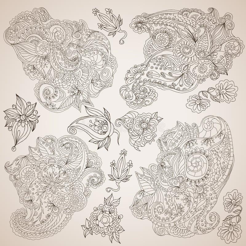 Sier decoratieve geplaatste elementen vector illustratie