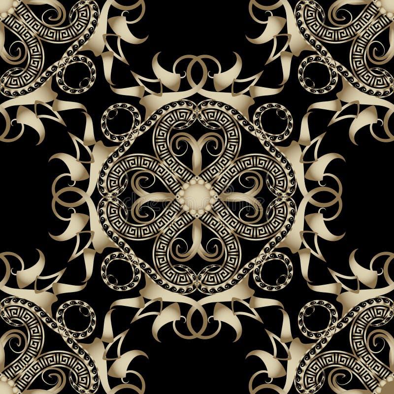 Sier etnisch stijl Grieks vector naadloos patroon Hand getrokken abstract bloemenornament Gevormde achtergrond Herhaal stammen stock illustratie