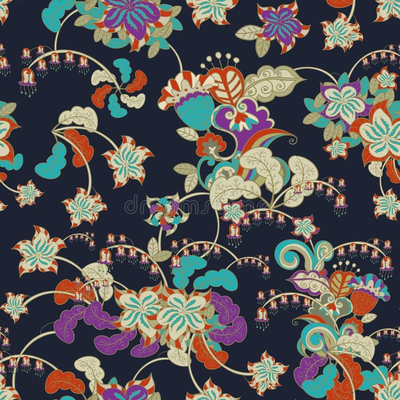 Sier gekleurd naadloos bloemenpatroon royalty-vrije illustratie