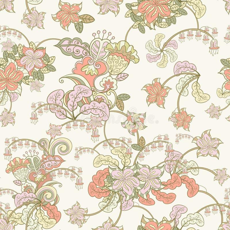 Sier gekleurd naadloos bloemenpatroon stock illustratie