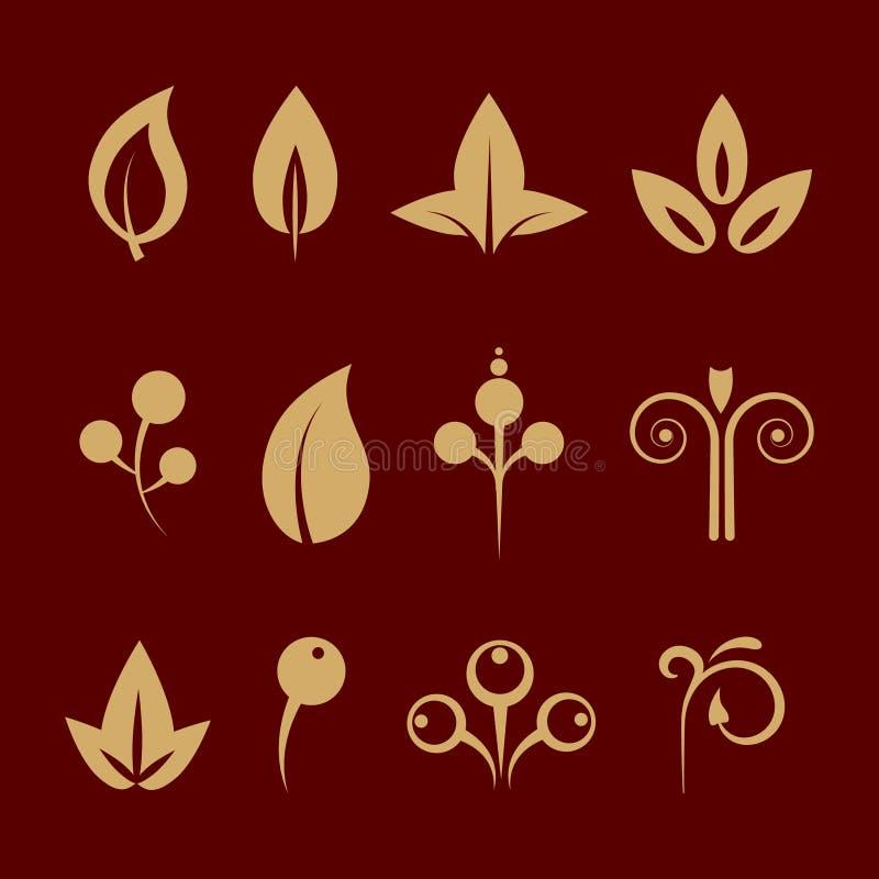 Sier geplaatste ontwerp bloemenelementen stock illustratie