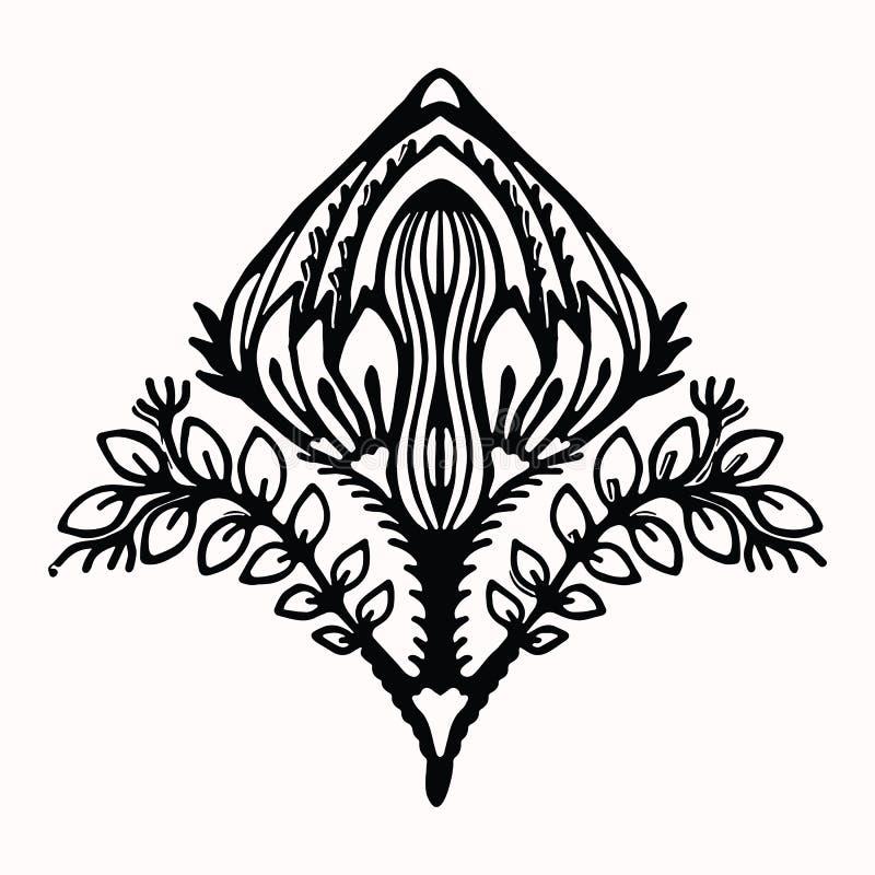 Sier grafisch het ontwerpelement van de bloem volkskunst Hand getrokken linocut blokafdrukstijl Zwarte folkloristische bloemillus stock illustratie