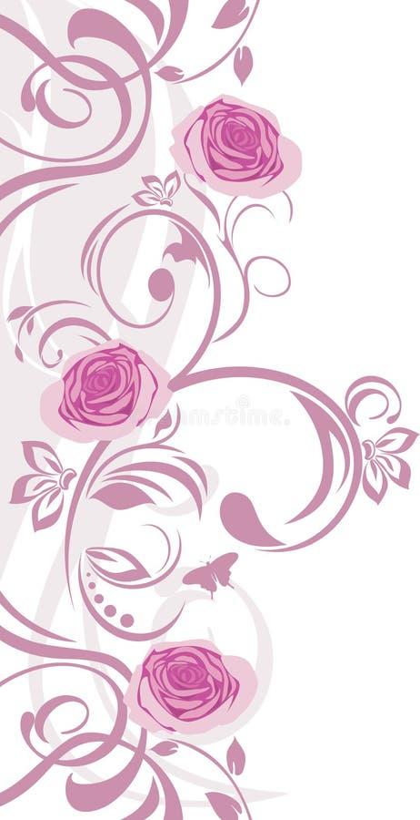 Sier grens met roze rozen stock illustratie