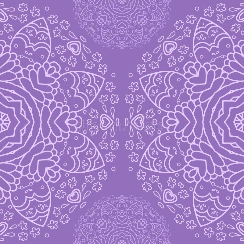 Sier half rond kantpatroon, cirkelachtergrond, die met de hand gemaakt kant, kanten arabesqueontwerpen haken stock illustratie