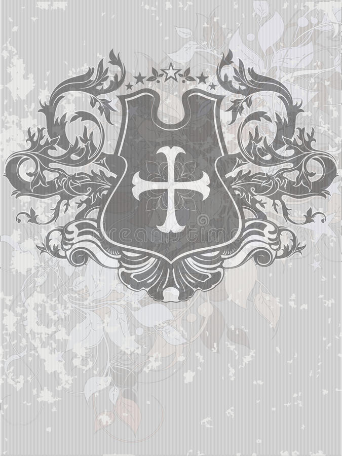 Sier heraldisch schild stock illustratie