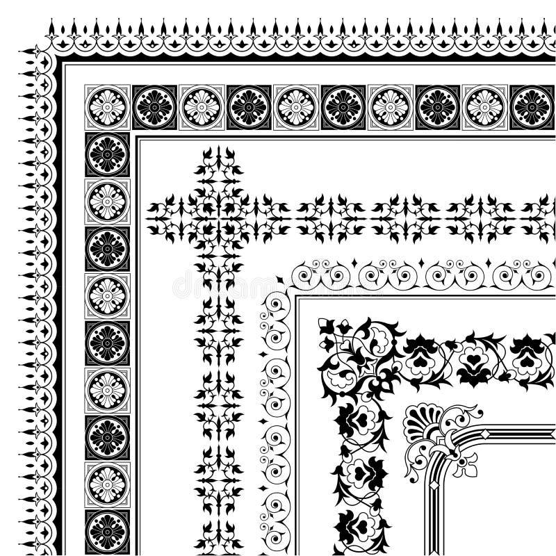 De elegante inzameling van de hoekgrens van kaders stock illustratie