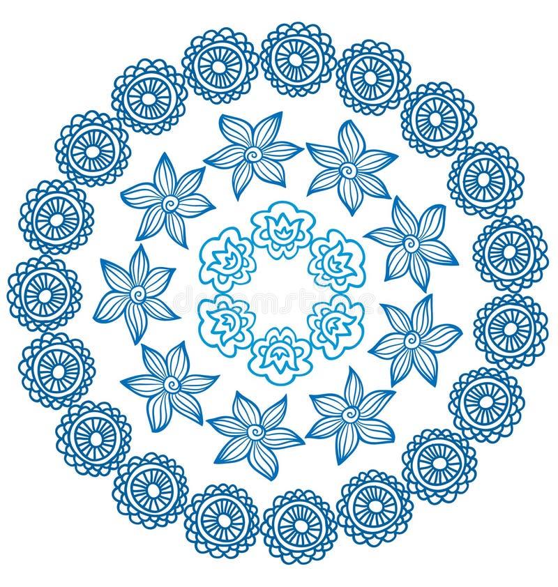 Sier Indisch rond kader met bloemen royalty-vrije illustratie