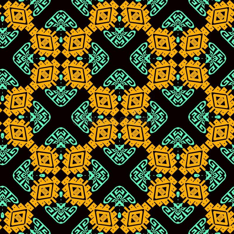Sier kleurrijk stammen vector naadloos patroon De etnische stijl vormde geometrische achtergrond Herhaal tegelsachtergrond Grieks royalty-vrije illustratie