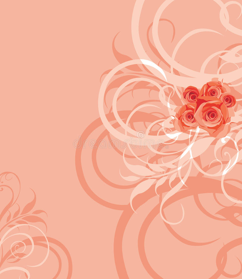 Sier modieuze achtergrond met rozenbos stock illustratie