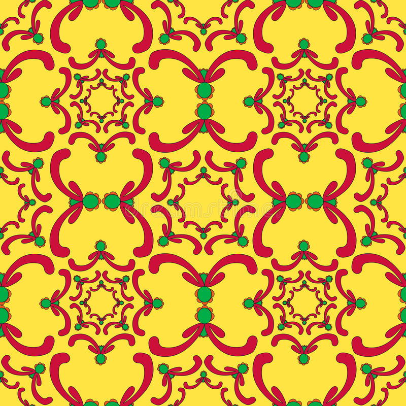 Sier naadloos patroon Rode en groene krommeelementen stock illustratie