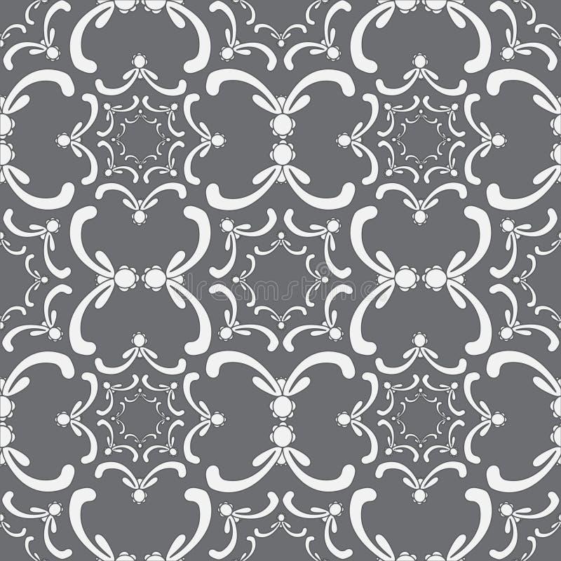 Sier naadloos patroon Uitstekend malplaatje Kromme witte elementen vector illustratie