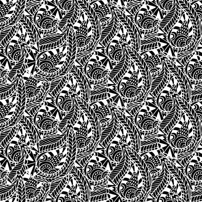 Sier naadloos patroon Vector zwart-witte textuur Het naadloze malplaatje kan gebruik voor behang zijn, vult het patroon, tex vector illustratie